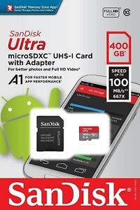 New Sandisk Ultra 400GB MicroSDXC UHS-I Card w/Adapter SDSQUAR-400G-GN6MA 100MB/