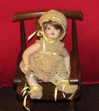"7 1/2"" Child in Rocking Chair-all bisque jointed doll-glass blue eyes-1984"