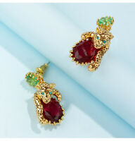 Earrings Nails Small Panthere Leopard Golden Crystal Green Red L6