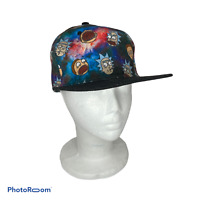 🍊 Rick & Morty Hat Cap Snapback Bioworld Adult Swim Baseball Galaxy Flat Brim