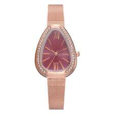 Fashion Women's Triangle Rose Gold Watch Crystal Rhinestone Roman Quartz Watches