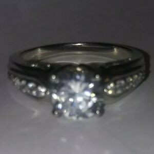 Vintage Solitaire Cubic Zirconia And Silver Engagement Ring Size 10