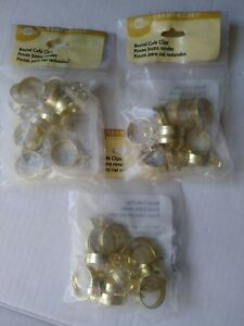 """Cafe Curtain Clips - 3/4"""" Round - 3 Packs of 14 Clips - Gold-Tone Metal-42 clips"""