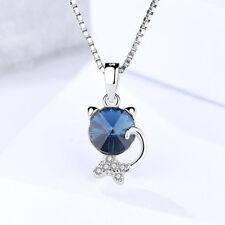 Halskette m. Anhänger Katze echt Sterling Silber 925 Zirkonia blau Damen  Mädchen 20fb295515