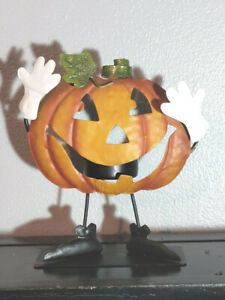 Cute Jack O Lantern Pumpkin Metal Tea Light Candle Holder Thanksgiving Halloween
