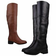 Over Knee Zip Synthetic Leather Boots for Women