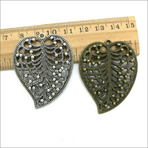 2/10pc Jewelry Making DIY big leaves alloy charms pendants 47x37mm