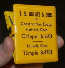 RARE ADVERTISING PAPER CLIP T.B. HOLMES & SONS CONSTRUCTION EQUIP. NORWALK CT