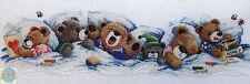 Cross Stitch Kit ~ Janlynn Bedtime Row of 6 Sleepy Teddy Bears #195-0601