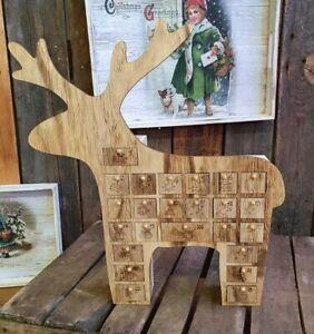 Adventskalender Rentier Elch zum befüllen Holz 40 x 35 cm mit 24 Schubladen Deko