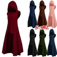 Women Fashion Vintage Sleeveless Asymmetrical Cosplay Knitted Hooded Long Coat