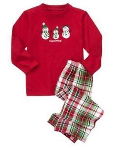 GYMBOREE SLEEPWEAR RED SNOWMAN FAMILY 2pc PAJAMAS GYMMIES 12 18 NWT
