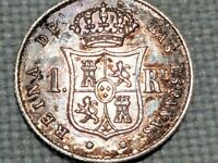 Spain Silver 1853 1 Reales Isabel II Barcelona Mint eight pointed star
