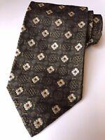 VALENTINO Tie 100% Silk Necktie Cravatte MADE in ITALY Embossed Flower Tan Gray