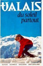 Original vintage poster VALAIS SUN ALL OVER SKI GIRL c.1960