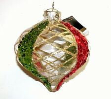 NWT NEW Christmas Ornament Robert Stanley Clear Drop Red Green Gold Glitter