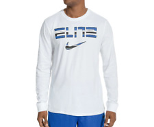 Nike Long Sleeve Shirt Mens XL or 2XL White New Dri Fit Elite Basketball Tee
