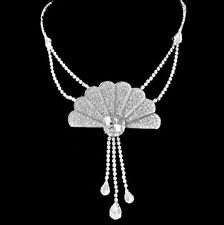 Full of Clear Crystal Rhinestones Chinese Fan Pendant Necklace