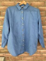 Soft Surroundings Women's Size LP Blue 100% Linen Button Down Tunic Blouse Top