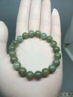9.5mm Green Beads Bracelet 100%Authentic Real Natural A Burmese Jadeite Jade