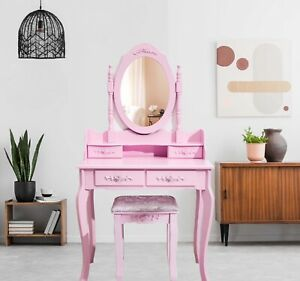 Pink Dressing Table, Oval Mirror & Stool Set (4 Drawer) Bedroom Makeup Desk