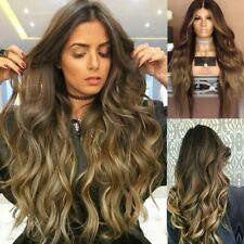 Synthetic Lace Front Wig Heat Resistant Long Wavy Ombre Brown Full Hair Wigs