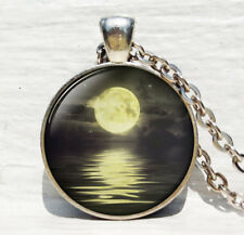 Grey Moon Jewelry Necklace Art Gift Full Moon Necklace Moon Pendant Space Galaxy