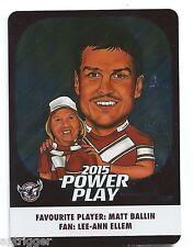 2015 NRL Power Play FAN CARD (FC6) Matt BALLIN Sea Eagles