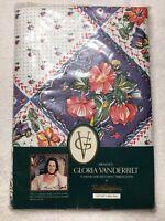 """NEW Vintage Gloria Vanderbilt Vinyl 52"""" x 90"""" Oblong Tablecloth Town & Country"""