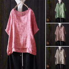 UK 8-24 Women Summer Scoop Neck Short Sleeve T-shirt Tee Tops Blouse Plus Size