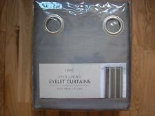 """NEXT SILVER GREY FAUX SILK  EYELET DYED TO MATCH LINED CURTAINS 53 X 90"""""""