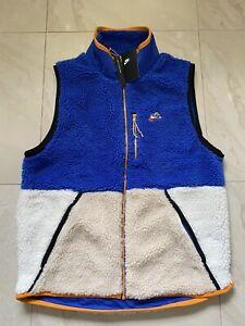 Nike NSW Loose Fit Sherpa Vest Full Zip Blue White CD3142-480 Men L