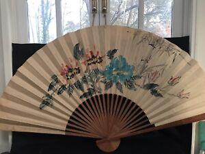 Decorative Oriental Fan Large Unique Piece Slight Tears