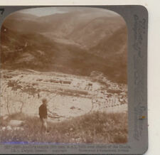 Apollo's Temple over Chasm of Oracle Delphi Greece Underwood Stereoview c1900