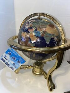 """14"""" Blue Lapris  Ocean M Gemstone  Globe On Brass  Stand With Compass"""