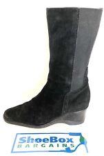 Aquatalia Womens Black Suede Mid Calf Wedge Boots Size 7