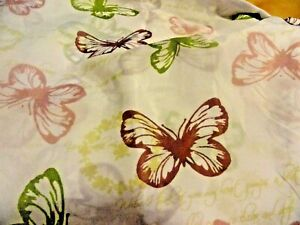 new~Flowers~Green~Mauve~White Plum Butterfly  NATURE Fabric SHOWER CURTAIN