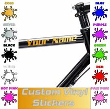 2 x Personalised Bike Frame Vinyl Name Stickers Bicycle 21 Colours Custom Decal