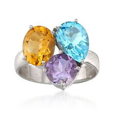 Genuine Natural Topaz Amethyst Citrine Engagement Ring Solid 14K White Gold