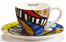 ROMERO BRITTO 'Swirl', 2013 Teacup & Saucer RETIRED 2-Piece Set Ceramic Cup NEW!