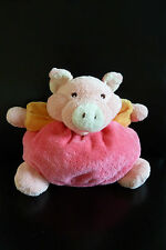 A- DOUDOU NOUNOURS COCHON  rose blanc et orange 23 cms - EXCELLENT ETAT