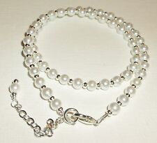 Newborn Baby Child Girl Necklace Snow White Pearl and Silver Custom Size
