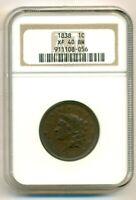 1838 Coronet Head Cent XF40 BN NGC