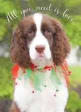 English Springer Spaniel Dog (Liver) Christmas Greeting Cards (Pack Of 5)