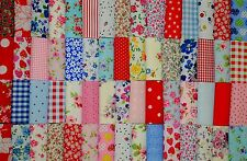 "50 PATCHWORK SQUARES REMNANTS 4""/ 10CM INC CATH KIDSTON COTTON FABRIC MATERIAL"