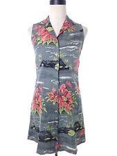 Tommy Bahama Gray Hawaiian Dress Silk Antherium Print Size 2 Small