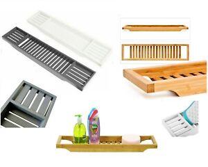 Bamboo Bath Tub Caddy Rack Wooden Bathroom Shelf Storage Organiser Tray Unit