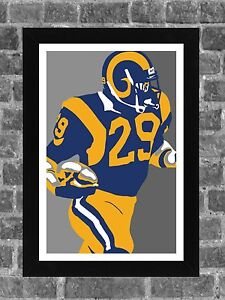 Los Angeles Rams Eric Dickerson Portrait Sports Print Art 11x17