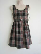 NWT Plaid Sleeveless Above Knee Length Cut Out Back Tweed Winter Dress Size XS