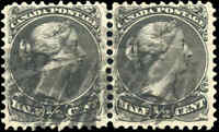 1868 Used Canada F PAIR Scott #21c THIN PAPER 1/2c Large Queen Issue Stamps
